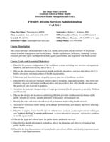 P H 605 Health Services Administration