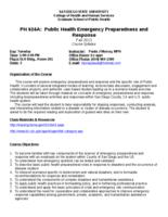 P H 624A Emergency Preparedness and Response I