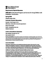 SPED 643A Educational Programs and Services for Young Children with Disabilities - Preschoolers