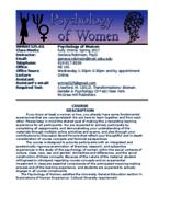 WMNST 325 Section 03 Psychology of Women