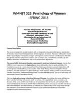WMNST 325 Psychology of Women, Online, Section 01