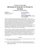 WMNST 602 Methods of Inquiry in Women's Studies