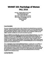 WMNST 325: Psychology of Women