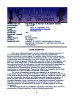 WMNST 325 Section 02: Psychology of Women