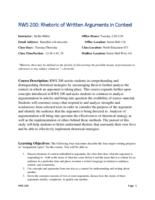RWS 200 Rhetoric of Written Arguments in Context
