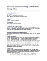 RWS 290 Business Writing and Rhetoric, Section 7