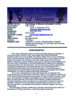 WMNST 325 Psychology of Women, Online, section 02