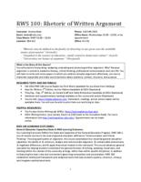 RWS 100 Rhetoric of Written Argument