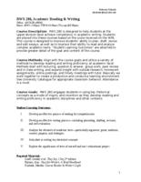 RWS 280 Academic Reading and Writing, Sections 1, 10, and 13