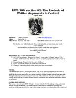 RWS 200 Rhetoric of Written Arguments in Context, Section 62
