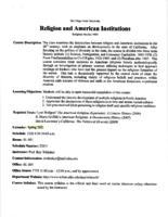 REL S 390B Religion and American Institutions