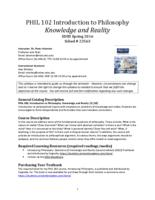 PHIL 102 Introduction to Philosophy: Knowledge and Reality, Section 3