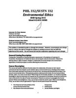 PHIL 332 Environmental Ethics