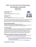 PHIL 102 Introduction to Philosophy: Knowledge and Reality, Section 5