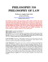 PHIL 510 Philosophy of Law
