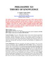 PHIL 523 Theory of Knowledge