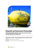 Nonprofit and Government Partnerships: Addressing Specific Needs of the City of Lemon Grove through Nonprofit Collaboration