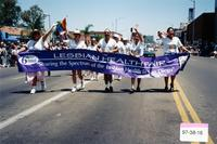 6th Annual Lesbian Health Fair banner at Pride Parade, 1997