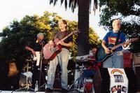 Young performers with guitars at Youth Stage and Open Mic, 1999
