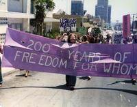 200 years of freedom for whom banner at Pride Parade, 1976