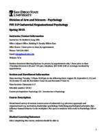 PSY 319 Industrial Organizational Psychology