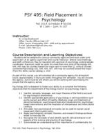PSY 495 Field Placement in Psychology, section 01