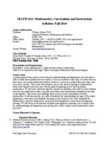 MATH 414 Mathematics Curriculum and Instruction