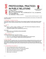 JMS 585 Professional Practices in Public Relations