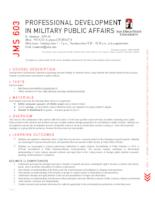 JMS 603 Professional Development in Military Public Affairs